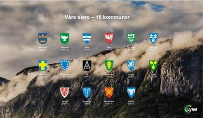 Kommunevåpen til våre 16 eierkommuner plassert på bilde av fjellvegg i Lysebotn hvor tåken er på vei bort og solen lyser på fjellsiden.