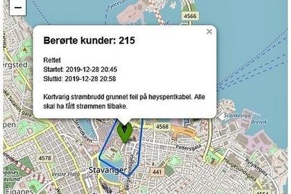 Kart hentet ut fra websiden som viser strømbruddet