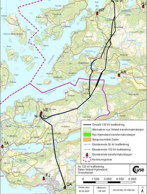 Kart som viser mulige traséer for ny kraftledning mellom Dalen og Hjelmeland